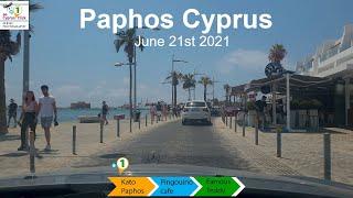 🇨🇾 June 21st 2021 | Kato Paphos Cyprus | Lunch @ Pingouino Cafe | 4k 🚗☕🍲