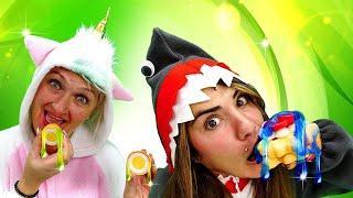 Весёлые игры одевалки - Вкусняшки со слаймом для Пони Единорожки и Акулы! - Смешное видео онлайн