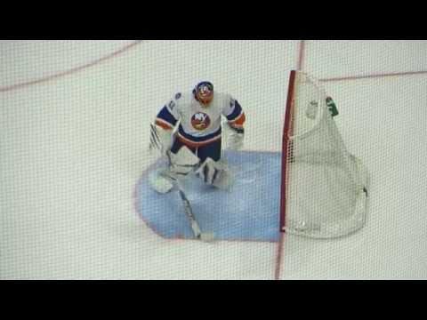 Jaroslav Halak warms up during the  Islanders @ Senators hockey game