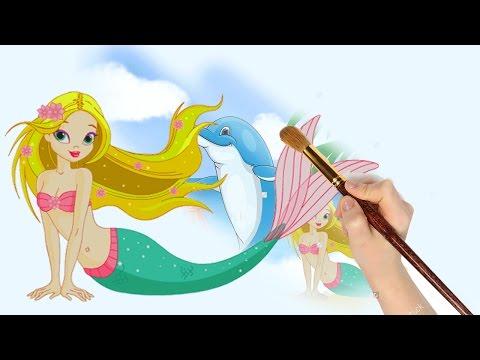 Mewarnai Putri Duyung Dan Lumba Lumba Mermaid Coloring Book