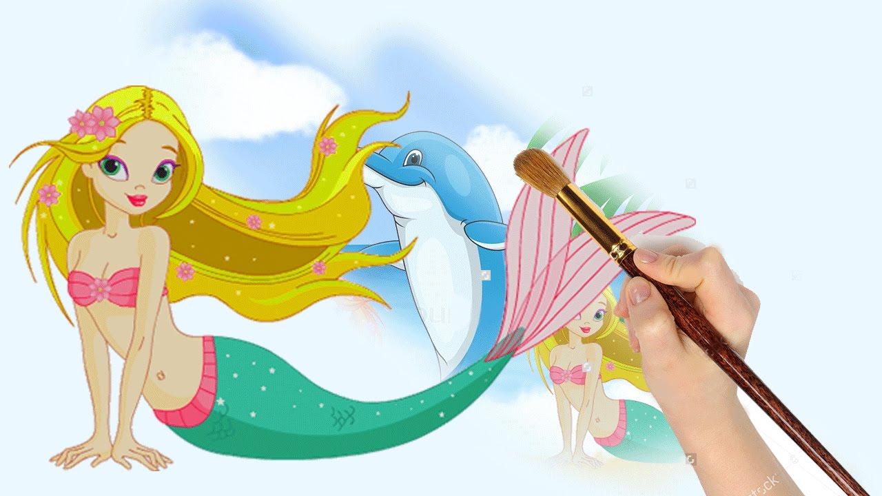 Mewarnai Putri Duyung Dan Lumba Lumba Mermaid Coloring Book Youtube