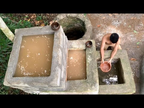 Primitive technology: Upgrade groundwater filter tank (build clean water filter tanks in the forest)