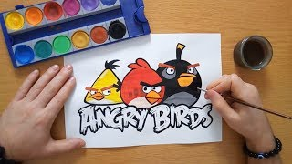 Gambar cover How to draw an Angry Birds logo - Drawing Angry Birds (coloring pages)