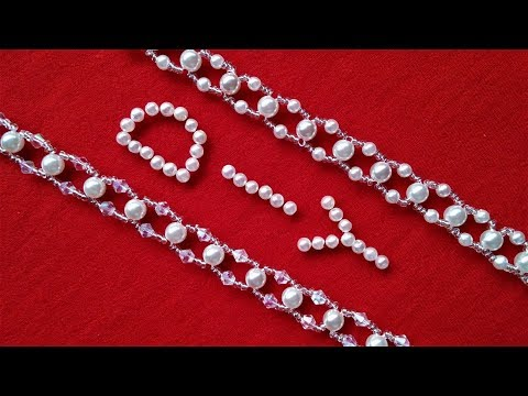 Easy DIY Pearl and Crystal Beading Necklace. DIY Handmade Jewelry Tutorial. Bridal Jewelry