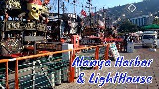 Alanya Harbor Full of Pirate Ships   Amazing  Lighthouse   Turkey