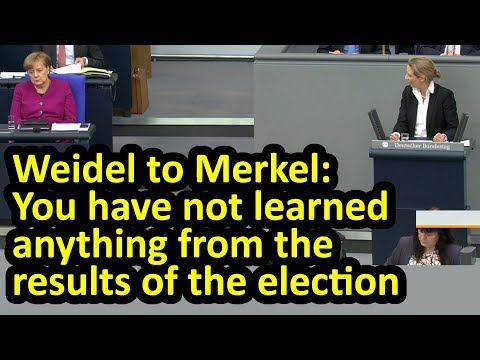Fiery speech from AfD's Alice Weidel as she faces Merkel in Bundestag English subtitles Rede