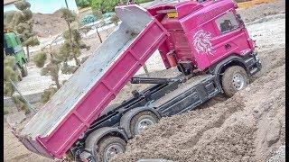 RC trucks and machines! CATERPILLAR! TRUCK STUCK!