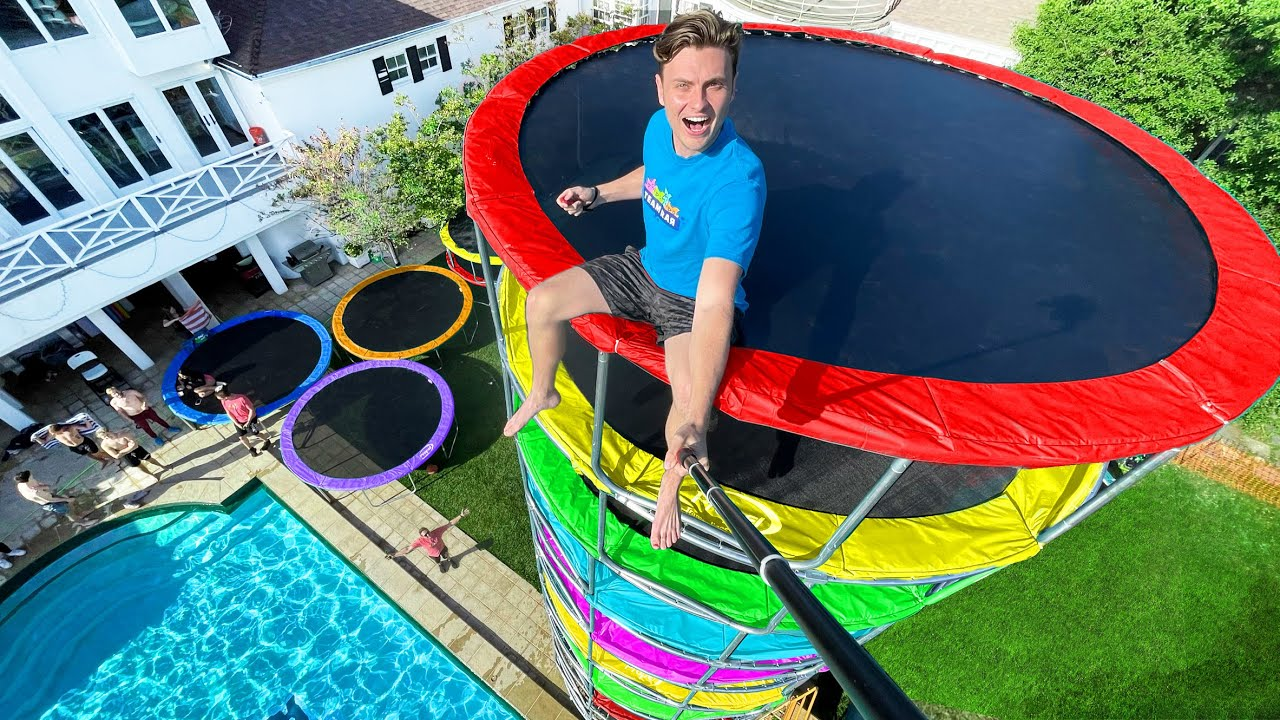 Download I Built the World's Tallest Trampoline Tower!!