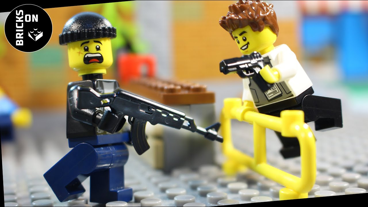 Lego Flash Bank Robbery Crazy Heist Compilation Full Story Police Catch crooks Brickfilm Stop Motion