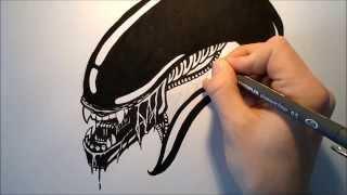 How To Draw A Xenomorph Alien Head