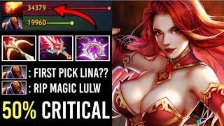 OMG 50% CRIT Max Attack Speed Lina Mid vs Anti-Mage Wildfire Machin...