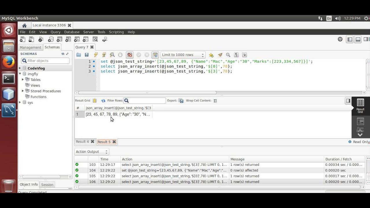 MySQL 5 7: Insert values in JSON array using MySQL
