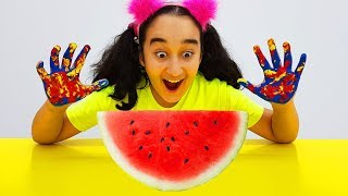 Gamze plays with watermelon and colored paints, Wash Your Hands