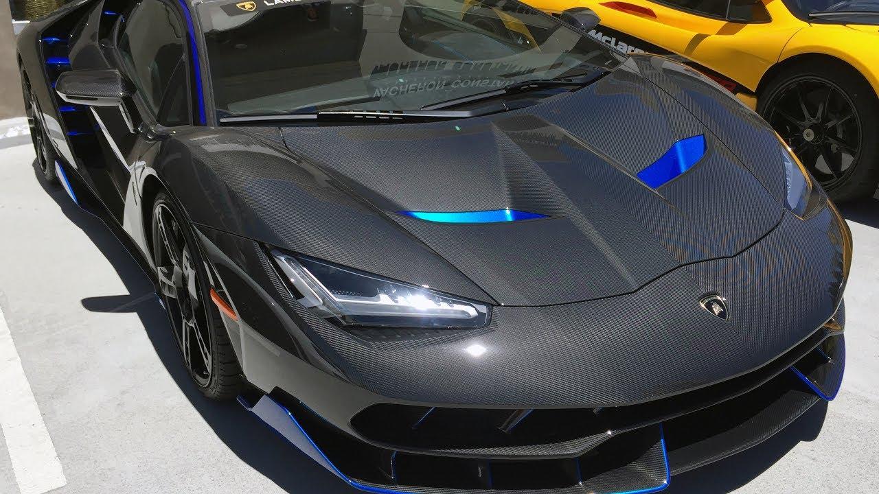 First Lamborghini Centenario In The Usa Blue Carbon Youtube