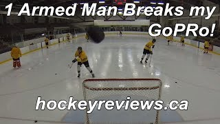 1 Armed Hockey Player Breaks GoPro!