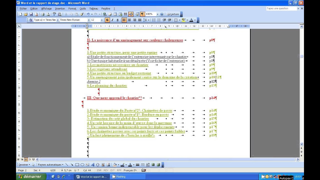 Word Et Rapport De Stage Le Sommaire Partie 1 Youtube