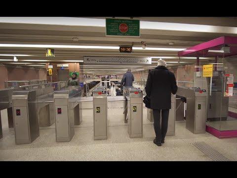 Poland, Warsaw, Metro ride from Wilanowska to Służew, 5X elevator, 1X escalator