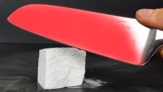 EXPERIMENT Glowing 1000 degree KNIFE VS DRY ICE