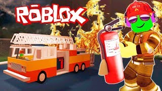 I became a FIREFIGHTER in ROBLOX videos for kids Cartoon hero hazardous work Robloks on the map of Firefighters