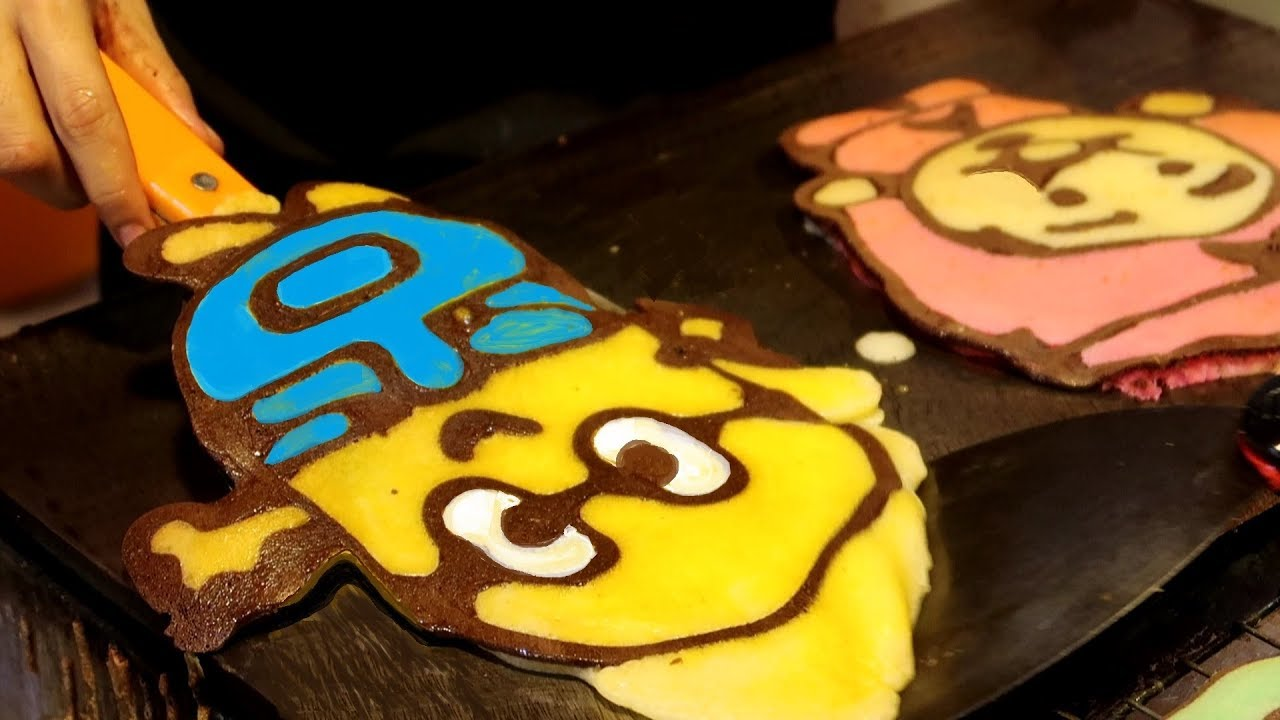 PANCAKE ART STREET FOOD | MINION ANPANMAN PIKACHU POOH Cute Pan Cake