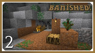Minecraft Banished Modpack | Iron and torches! | E02 (Harsh Survival Minecraft 1.10.2)