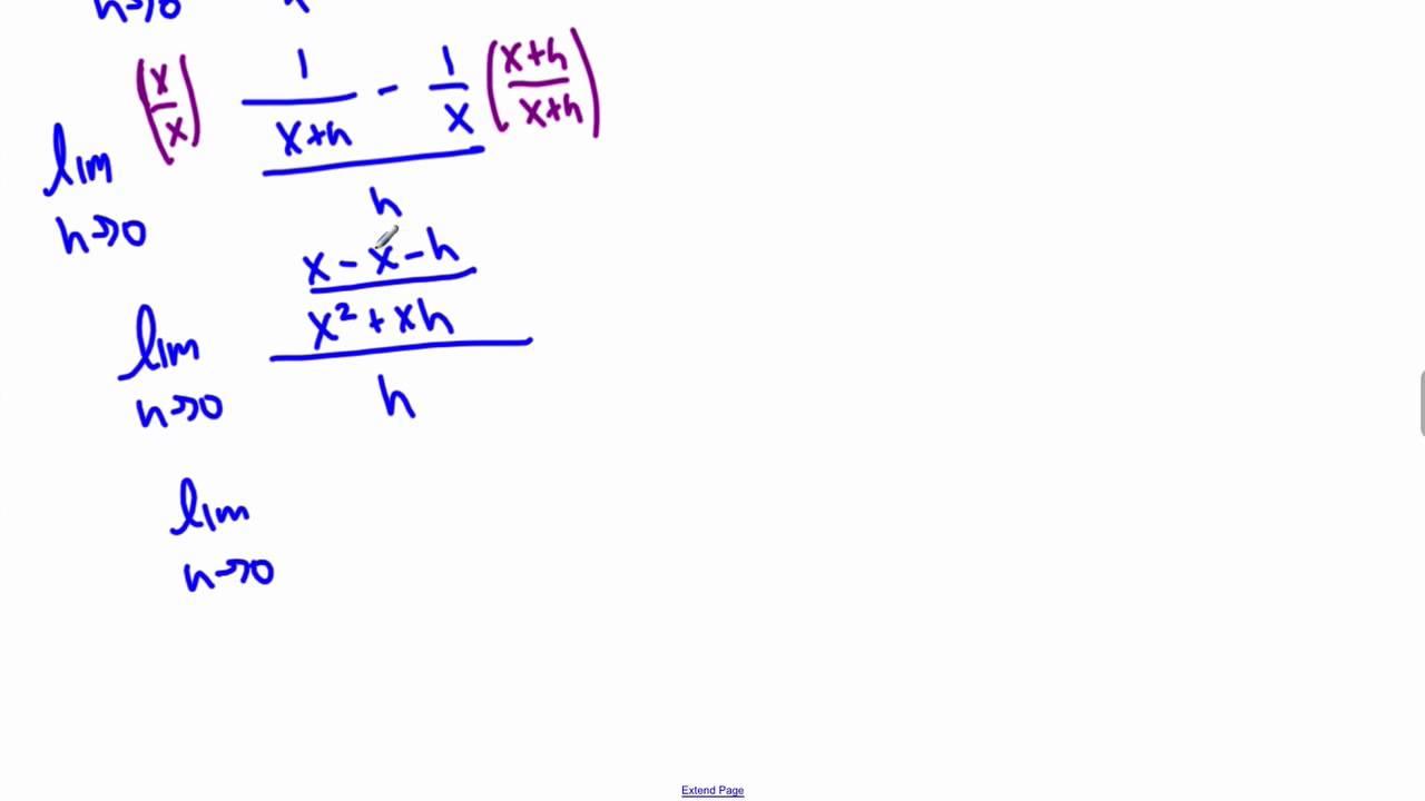 Definition Of Derivative Example Y 1  X