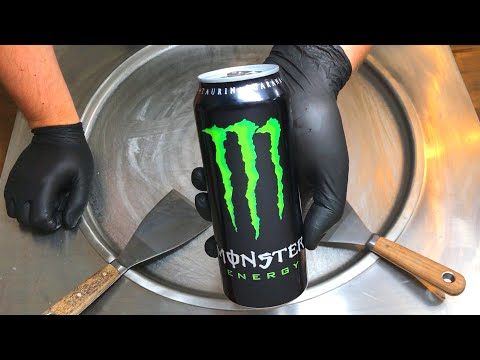 Monster Ice Cream Rolls | how to make Monster Energy Ice Cream - rolled ice cream recipe ASMR Food