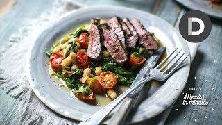 5 Minute Lamb Steak & Quick Bean Stew