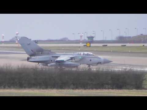 Aviation RAF Tornado fighter jet 027 takes off   at RAF Marham Norfolk UK 16feb17 420p