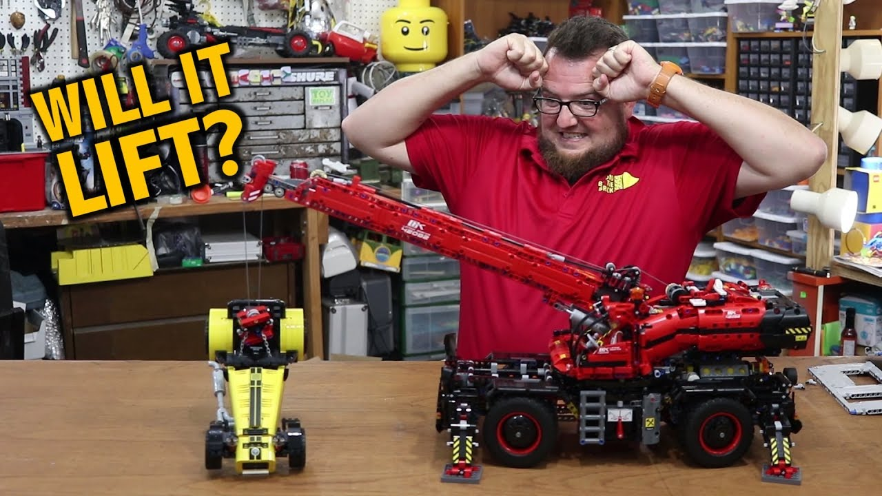 How Much Can The New Lego Technic Crane Lift Youtube