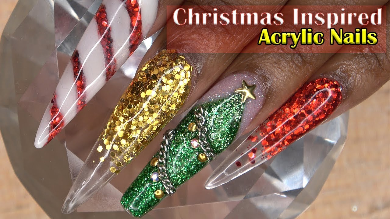 Christmas Nails Acrylic.Acrylic Nails Tutorial How To Encapsulated Nails With Nail Forms Christmas Inspired Acrylic Nails