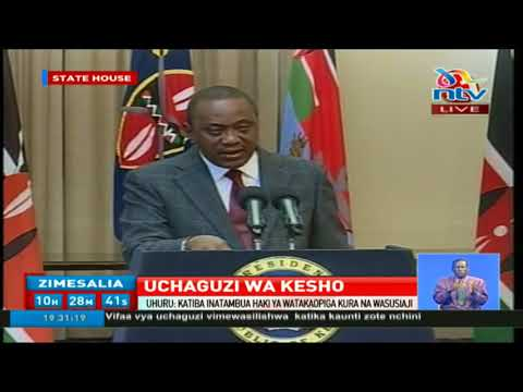 President Uhuru Kenyatta addresses the nation before repeat presidential election