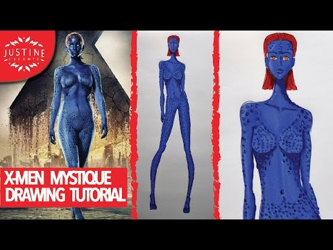 Mystique Jennifer Lawrence Full Body X Men: how to draw Mys...