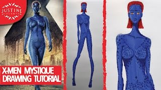 X Men: how to draw Mystique (Jennifer Lawrence) full body | Drawing Tutorial | Justine Leconte