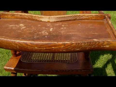 antique.victorian.oak.high.chair.child.rocking.chair