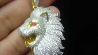 Designer Lion Red Eye Iced Out Pendant -RK001