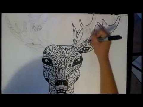 Dibujando Venado Zentangle Art Speed Drawing Prisci Gomez Youtube