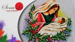 Maria e Jesus em Tecido – Sonalupinturas