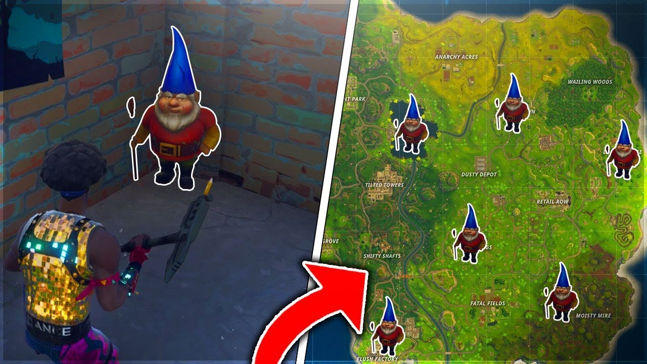 """ALL GNOME LOCATIONS ON FORTNITE! - """"Search The Hidden ..."""