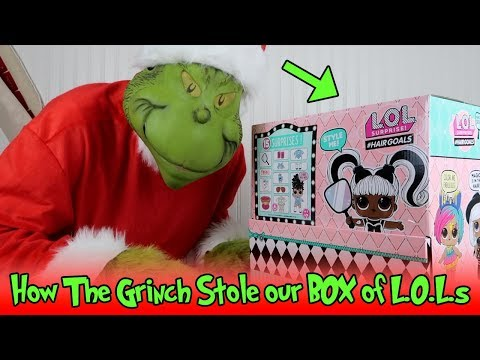 How The GRINCH STOLE Our BOX of L.O.L. Surprise Makeover Series #Hairgoals Dolls!