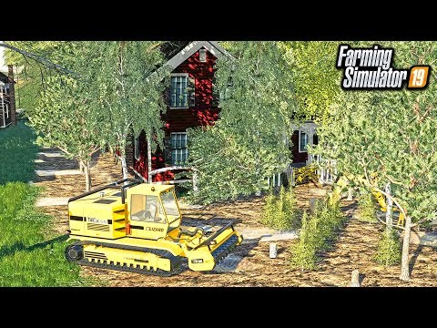ABANDONED HOUSE CLEAN UP! (HAUNTED) REMOVING ALL OVERGROWN TREES   FARMING SIMULATOR 2019