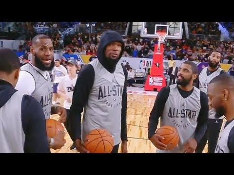 2018 NBA All-Star Game Team LeBron James Half Court Shot Contest! LeBron, Kyrie, Durant, Westbrook