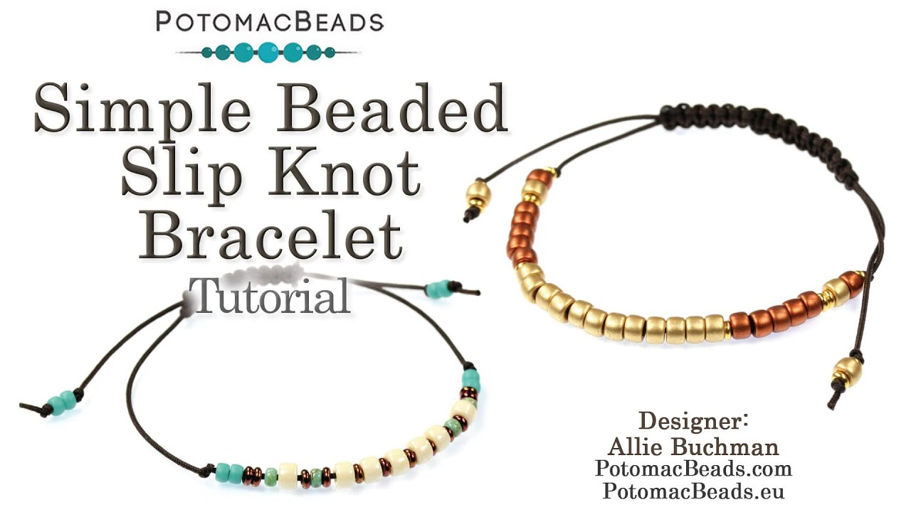 Simple Beaded Slip Knot Bracelet Youtube