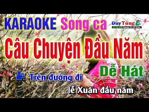 Karaoke || Câu Chuyện Đầu Năm - Song Ca ( Ngọt Ngào Dễ Hát ) Nhạc Sống Duy Tùng