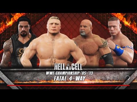 WWE 2K17-Brock Lesnar vs Roman Reigns vs John Cena vs Goldberg -Fatal 4-Way for WWE Championship thumbnail