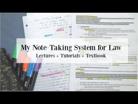 Note-Taking System for Law School: lectures, tutorials and articles
