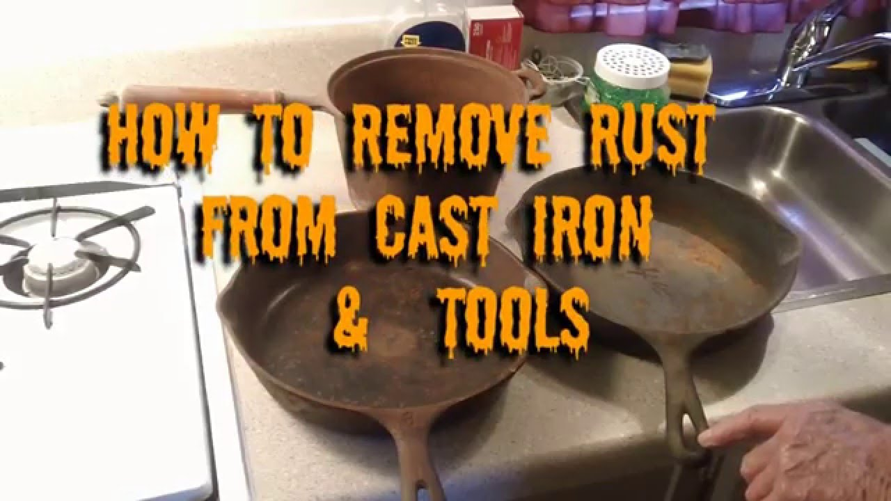 how to remove rust from cast iron skillets youtube. Black Bedroom Furniture Sets. Home Design Ideas