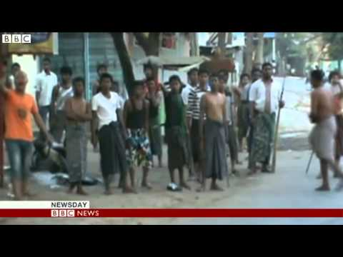 BBC News - Burma riots_ Video shows police failing to stop attack