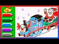 Thomas the Tank Engine with Santa - Drawing and Colors Learning - Merry Christmas and Happy New Year