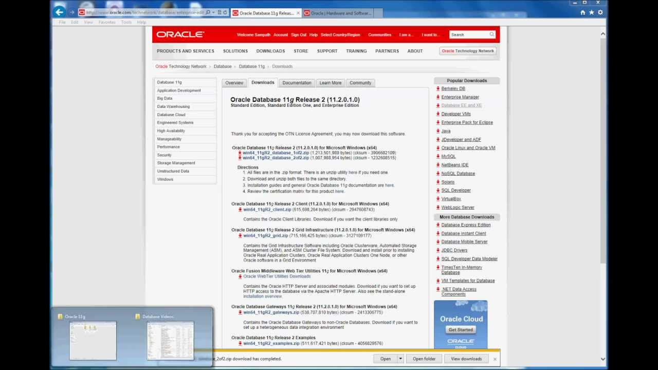Oracle 11g Download